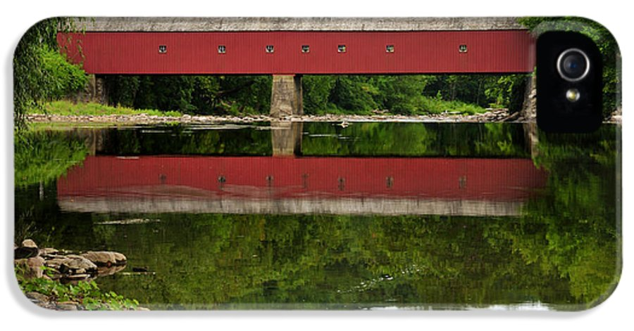 Connecticut IPhone 5 Case featuring the photograph Summer Reflections At West Cornwall Covered Bridge by Thomas Schoeller