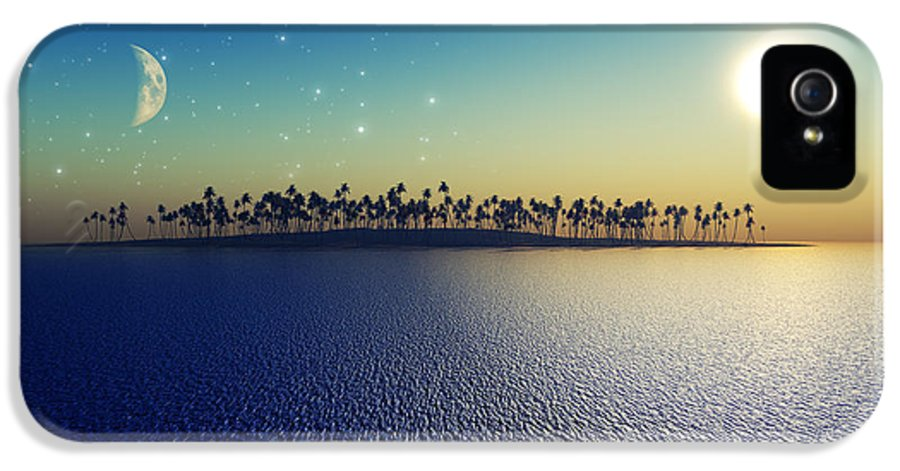 Islands IPhone 5 Case featuring the digital art Sun And Moon by Aleksey Tugolukov