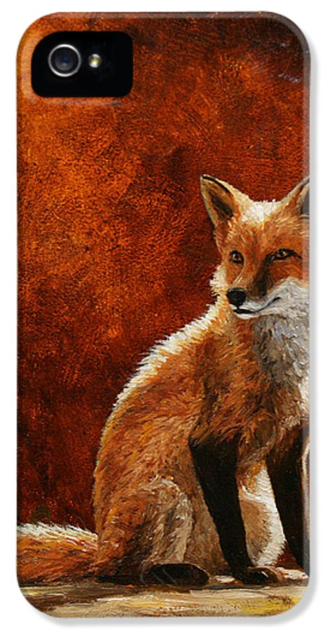 Dog IPhone 5 Case featuring the painting Sun Fox by Crista Forest