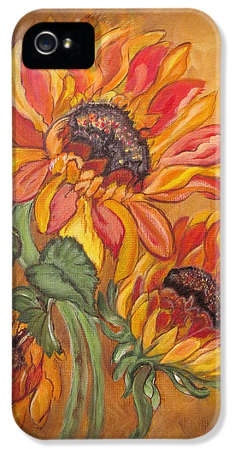 Sunflower IPhone 5 Case featuring the painting Sunflower Enchantment by Ella Kaye Dickey