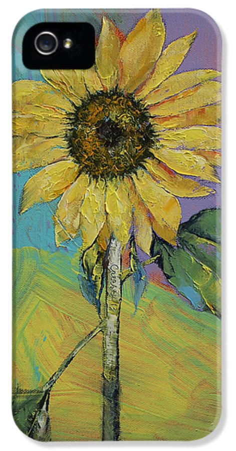 Sunflower IPhone 5 Case featuring the painting Sunflower by Michael Creese
