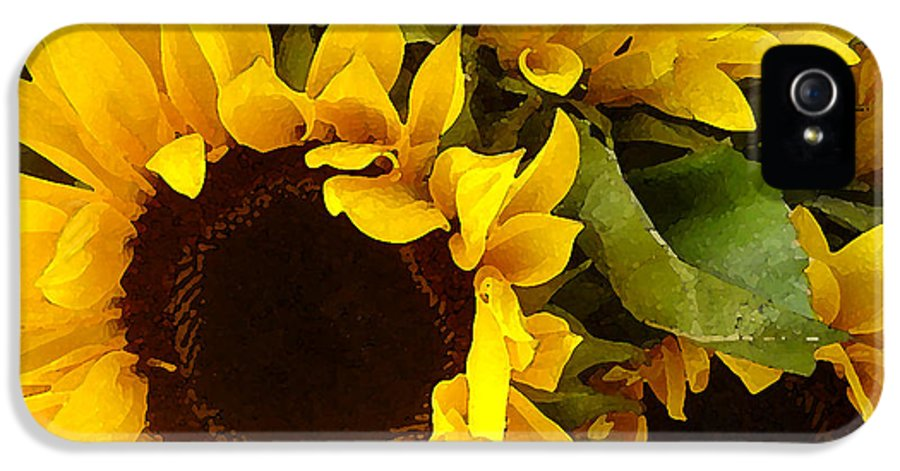 Sunflowers IPhone 5 Case featuring the painting Sunflowers by Amy Vangsgard