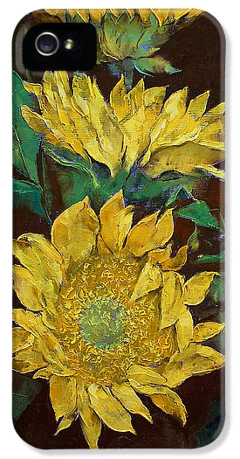 Sunflowers IPhone 5 Case featuring the painting Sunflowers by Michael Creese