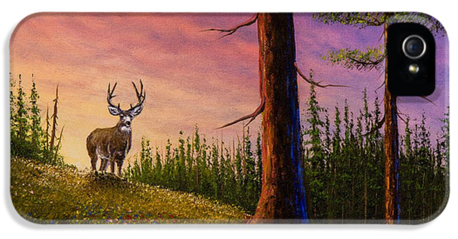 Landscape IPhone 5 Case featuring the painting Sunrise Buck by C Steele