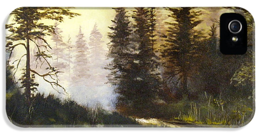 Nature IPhone 5 Case featuring the painting Sunrise In The Forest by Lee Piper