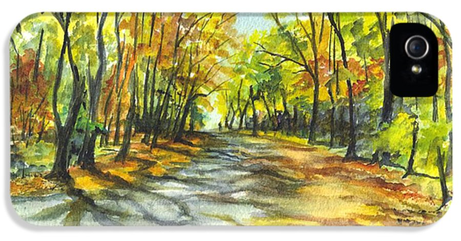Autumn IPhone 5 Case featuring the painting Sunrise On A Shady Autumn Lane by Carol Wisniewski