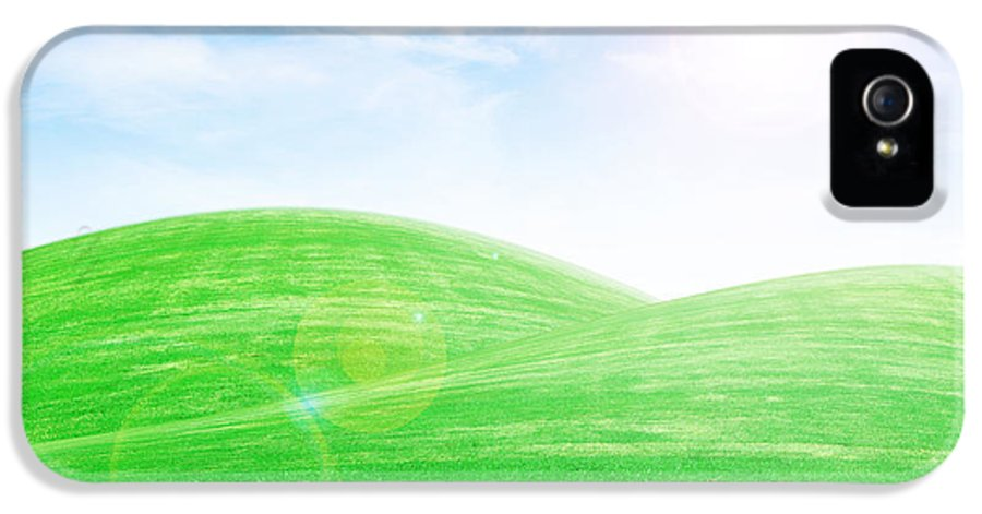 Sky IPhone 5 Case featuring the photograph Sunrise Over Green Grass Hills by Thanapol Kuptanisakorn