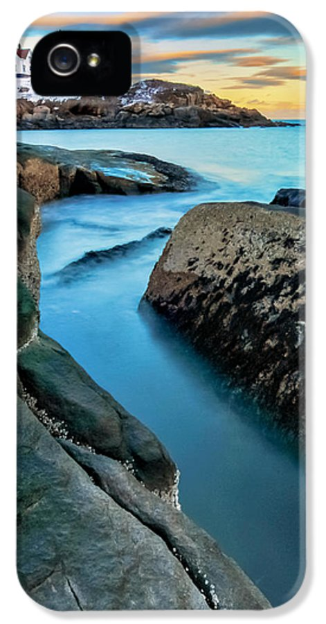 Maine IPhone 5 Case featuring the photograph Sunset At Cape Neddick Light- Maine by Thomas Schoeller