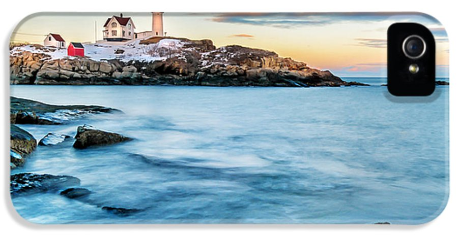 Maine IPhone 5 Case featuring the photograph Sunset At Nubble Light-cape Neddick Maine by Thomas Schoeller