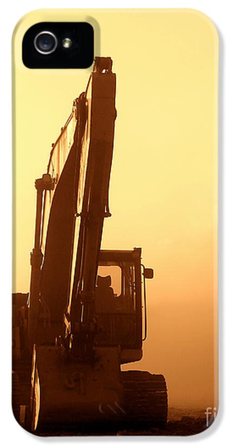 Excavator IPhone 5 Case featuring the photograph Sunset Excavator by Olivier Le Queinec