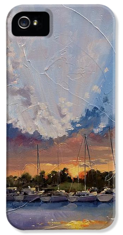 Sunset IPhone 5 Case featuring the painting Sunset Over Bay Point by Laura Lee Zanghetti