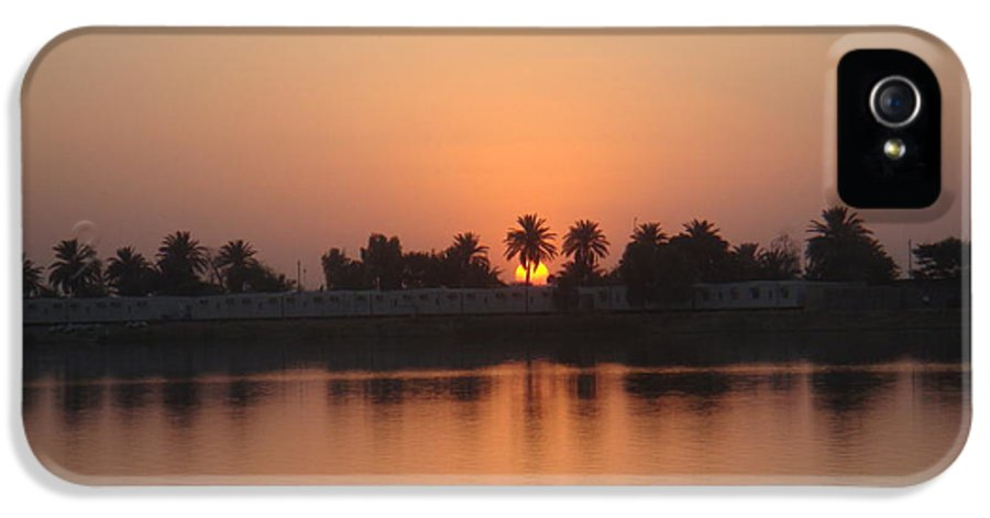 Palm Trees IPhone 5 Case featuring the photograph Sunset Palms Over Lake by Sharla Fossen
