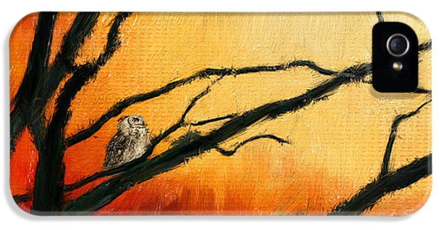 Owl At Sunset IPhone 5 Case featuring the digital art Sunset Sitting by Lourry Legarde