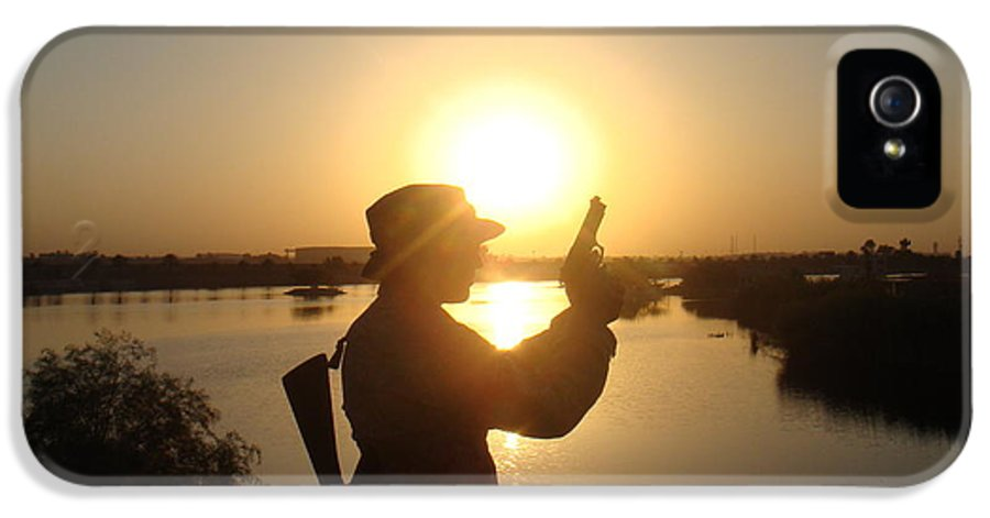 Sunset IPhone 5 Case featuring the photograph Sunset Soldier by Sharla Fossen