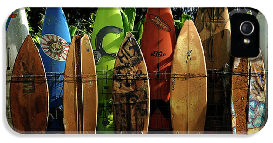 Hawaii IPhone 5 Case featuring the photograph Surfboard Fence 4 by Bob Christopher