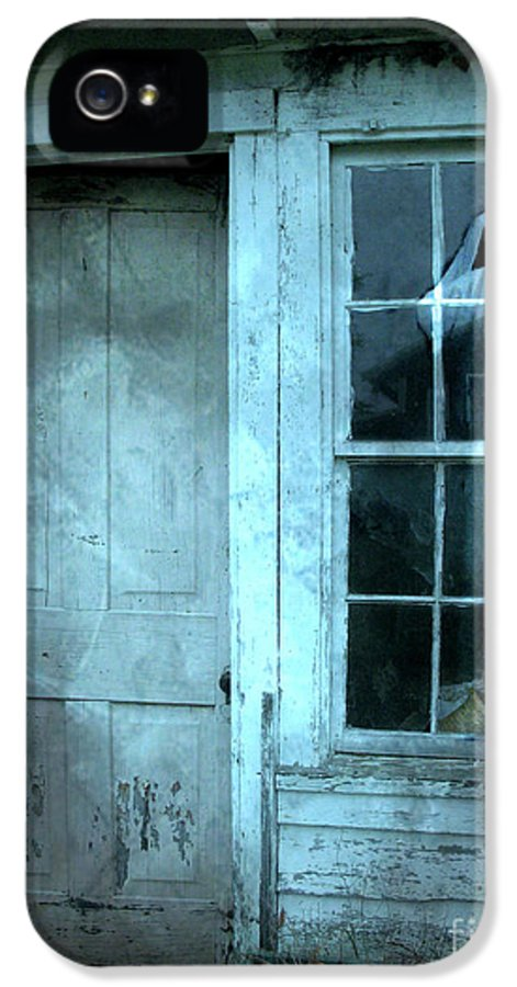 Scary Spooky Photography IPhone 5 Case featuring the photograph Surreal Gothic Grim Reaper In Window - Spooky Haunted House Reflection In Window by Kathy Fornal