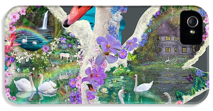 Swan IPhone 5 Case featuring the digital art Swan Day Dream by Alixandra Mullins