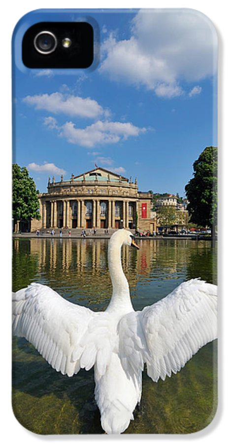 Swan IPhone 5 Case featuring the photograph Swan Spreads Wings In Front Of State Theatre Stuttgart Germany by Matthias Hauser
