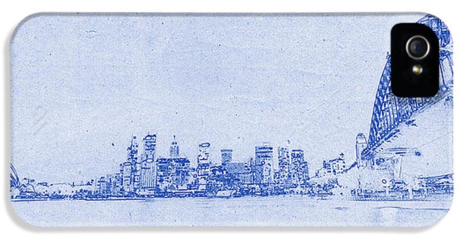 Sydney IPhone 5 Case featuring the photograph Sydney Skyline Blueprint by Kaleidoscopik Photography