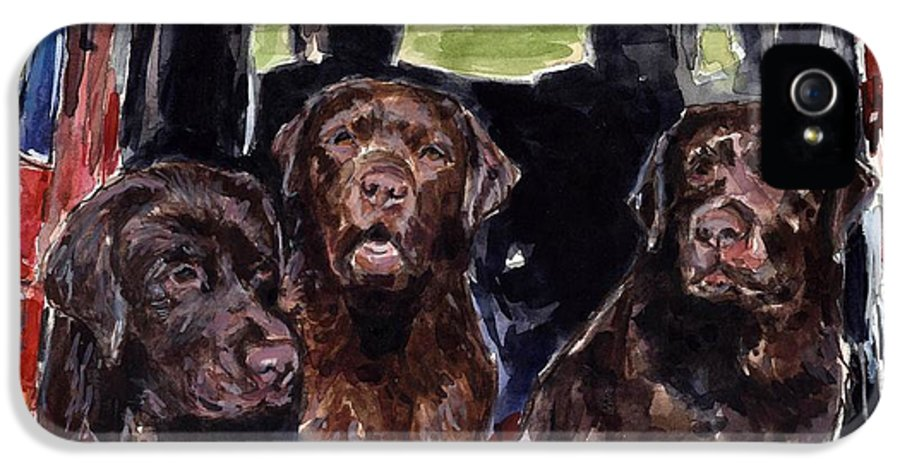Chocolate Labrador Retrievers IPhone 5 Case featuring the painting Tailgaters by Molly Poole