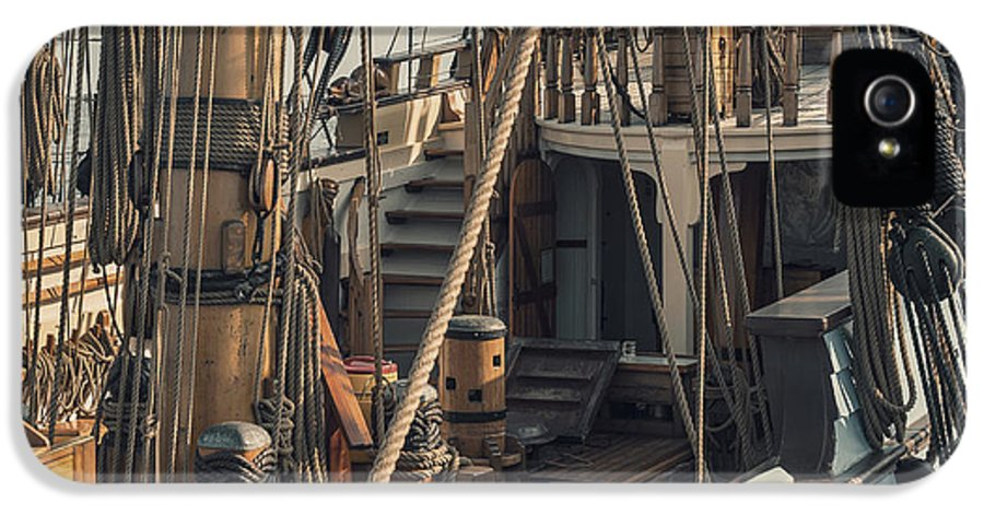 Tall IPhone 5 / 5s Case featuring the photograph Tall Ship Kalmar Nyckel Ropes by Dapixara Art