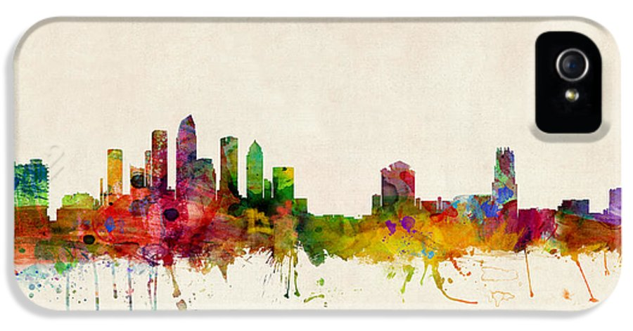 Watercolour IPhone 5 Case featuring the digital art Tampa Florida Skyline by Michael Tompsett