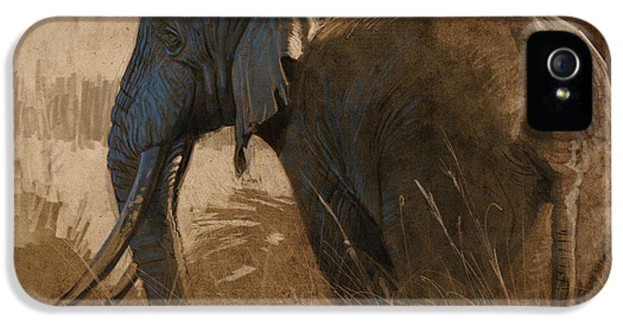 Elephant IPhone 5 Case featuring the digital art Tarangire Bull by Aaron Blaise