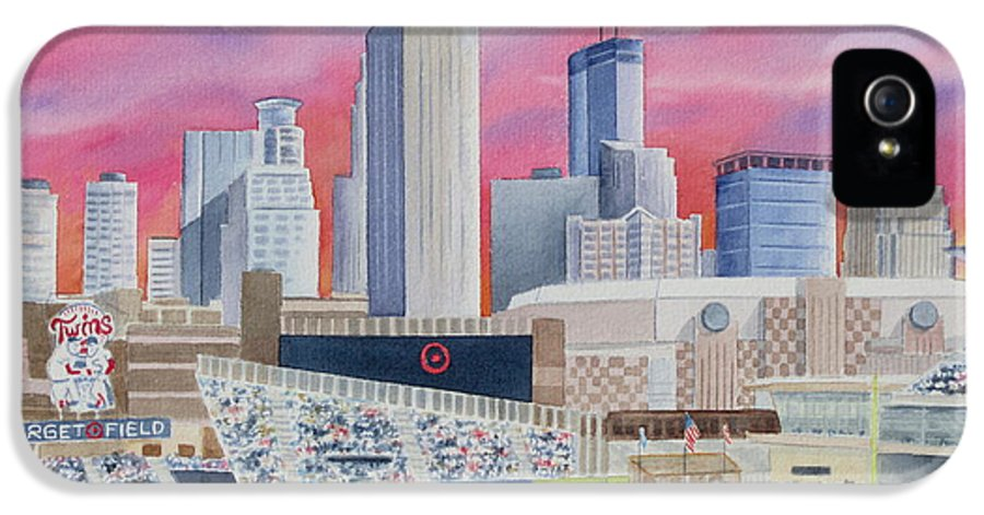 Target Field IPhone 5 Case featuring the painting Target Field by Deborah Ronglien