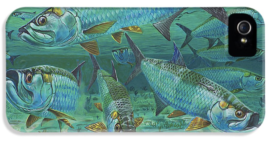 Tarpon IPhone 5 Case featuring the painting Tarpon Rolling In0025 by Carey Chen