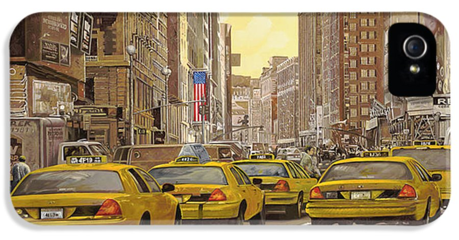 New York IPhone 5 Case featuring the painting taxi a New York by Guido Borelli
