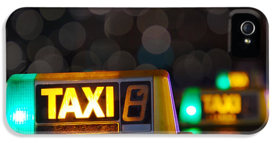 Auto IPhone 5 Case featuring the photograph Taxi Signs by Carlos Caetano