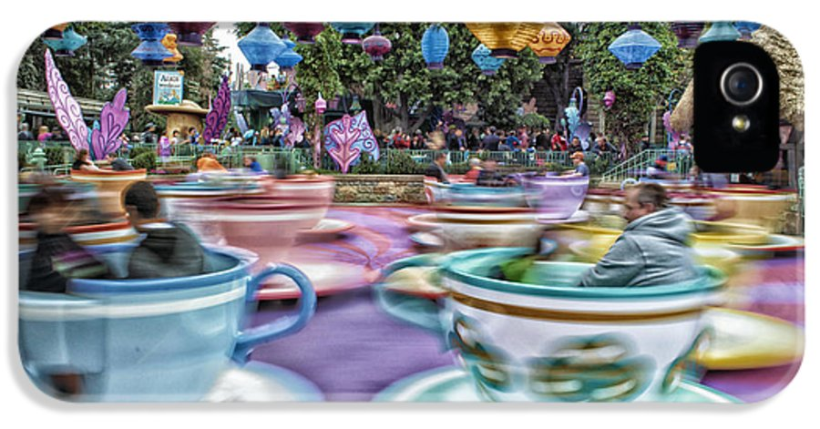 Disney IPhone 5 Case featuring the photograph Tea Cup Ride Fantasyland Disneyland by Thomas Woolworth