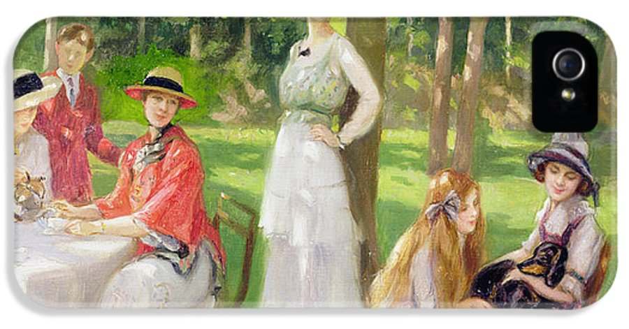 Garden IPhone 5 Case featuring the painting Tea In The Garden by Jules Cayron