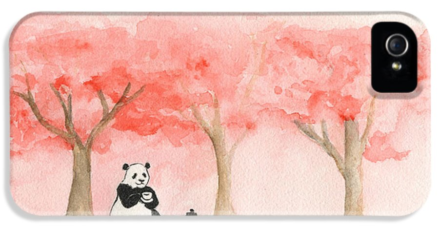 Panda IPhone 5 Case featuring the painting Tea Time For Mei by Erica Vojnich