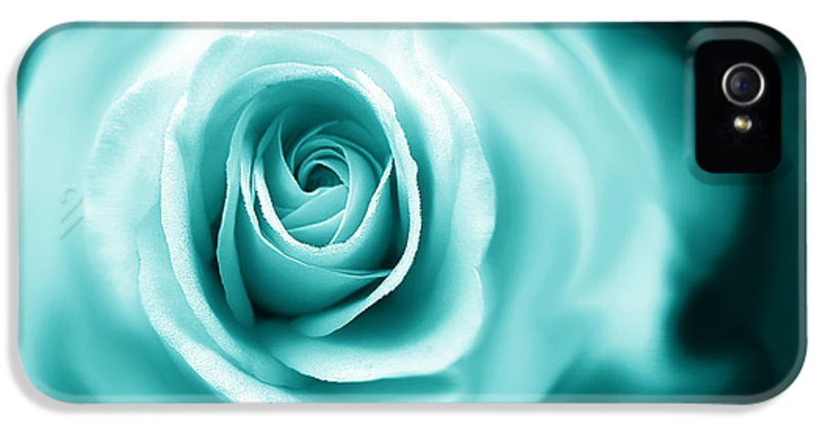 Rose IPhone 5 Case featuring the photograph Teal Rose Flower Abstract by Jennie Marie Schell