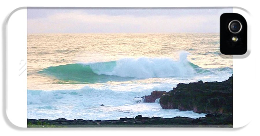 Teal IPhone 5 Case featuring the photograph Teal Wave On Golden Waters by Stephanie Callsen
