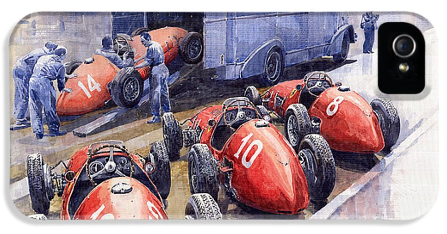 Watercolour IPhone 5 Case featuring the painting Team Ferrari 500 F2 1952 French Gp by Yuriy Shevchuk