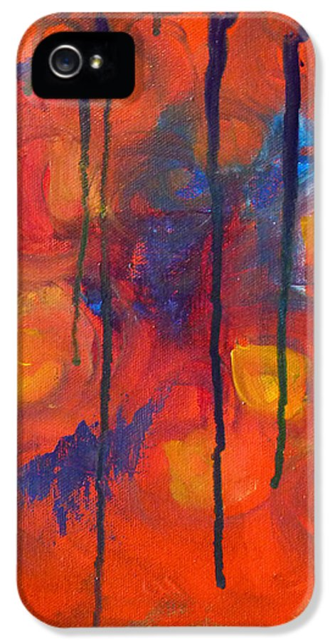 Red Orange Abstract Painting IPhone 5 Case featuring the painting Temper Tantrum by Nancy Merkle