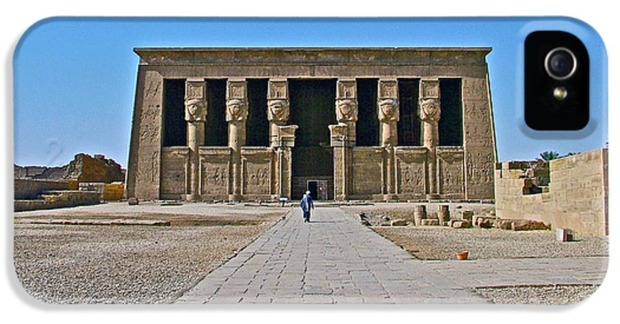 Carving Like Cleopatra's Necklace In A Crypt In The Temple Of Hathor Near Dendera Egypt IPhone 5 Case featuring the photograph Temple Of Hathor Near Dendera-egypt by Ruth Hager