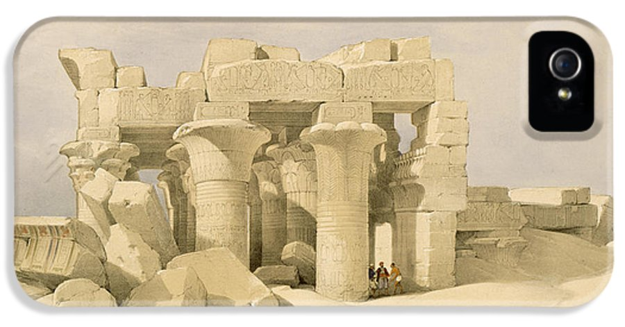 Ruins IPhone 5 Case featuring the painting Temple Of Sobek And Haroeris At Kom Ombo by David Roberts