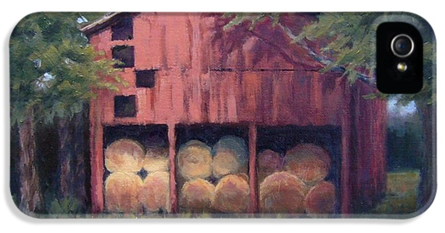 Barn IPhone 5 Case featuring the painting Tennessee Barn With Hay Bales by Janet King