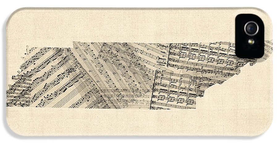 Tennessee IPhone 5 Case featuring the digital art Tennessee Map Sheet Music by Michael Tompsett