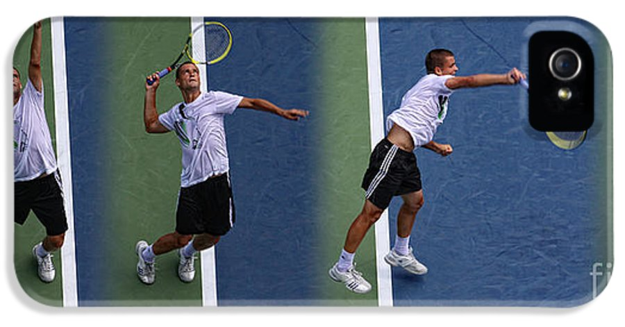 Tennis Serve Stop Motion IPhone 5 Case featuring the photograph Tennis Serve By Mikhail Youzhny by Nishanth Gopinathan
