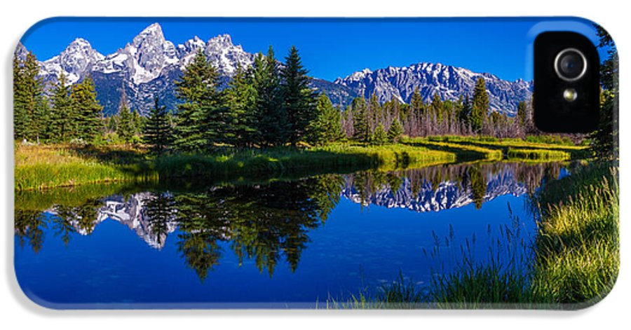 Teton Reflection IPhone 5 Case featuring the photograph Teton Reflection by Chad Dutson