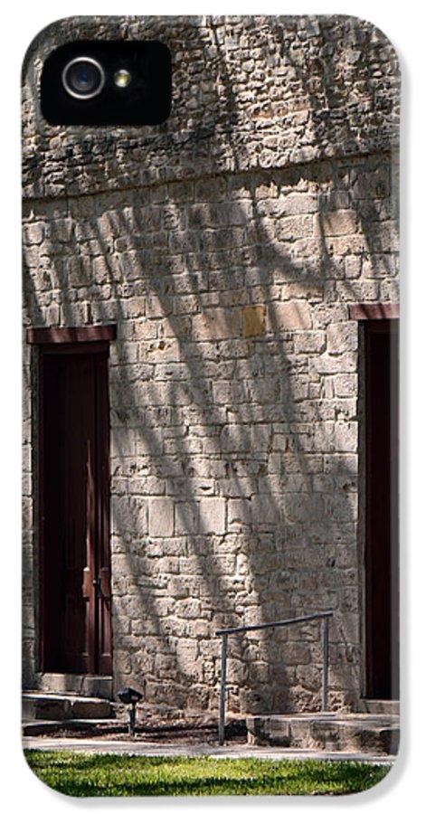 Historic Church IPhone 5 Case featuring the photograph Texas Pioneer Church Doors by Connie Fox