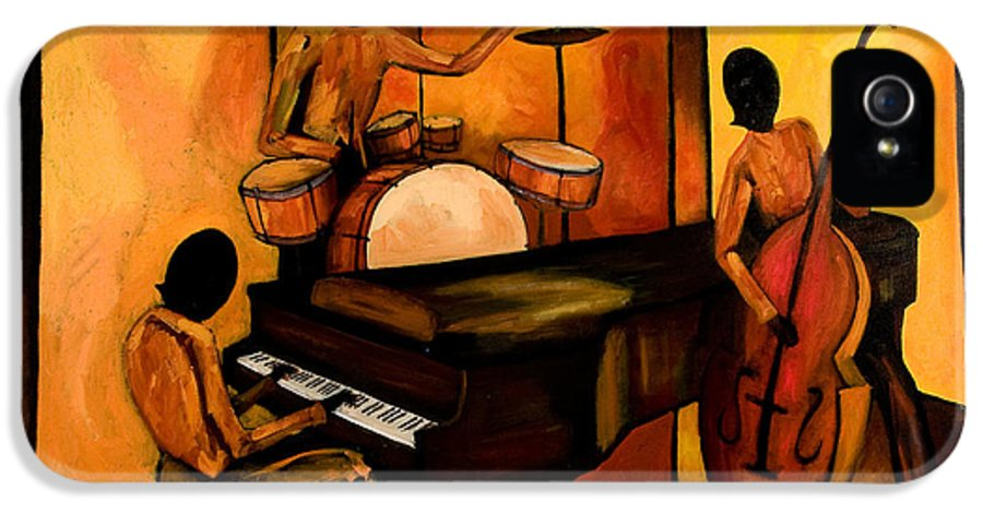 Jazz IPhone 5 Case featuring the painting The 1st Jazz Trio by Larry Martin