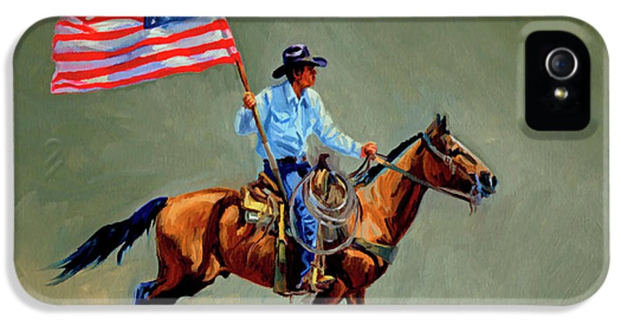 Flag IPhone 5 Case featuring the painting The All American Cowboy by Randy Follis