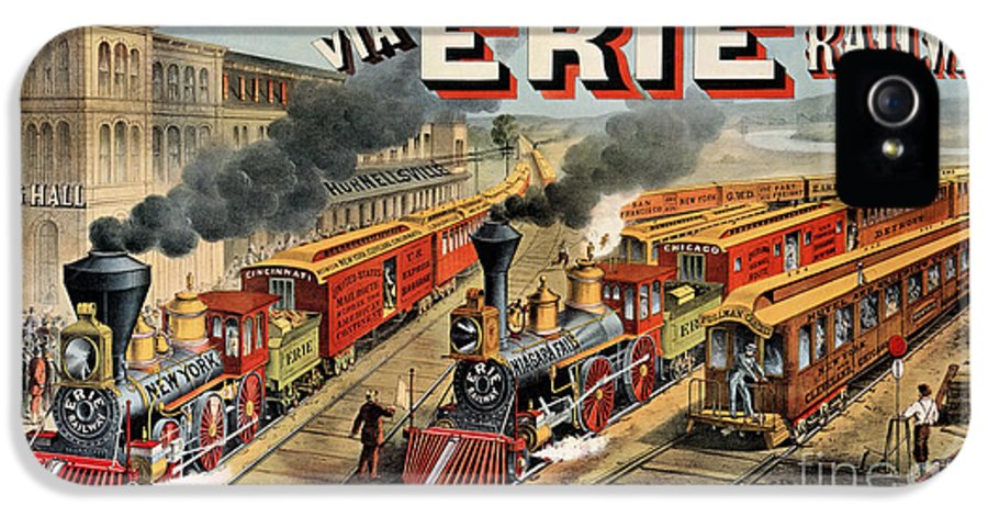 Train IPhone 5 Case featuring the painting The American Railway Scene by Currier and Ives