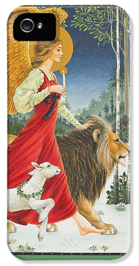 Angel IPhone 5 Case featuring the painting The Angel The Lion And The Lamb by Lynn Bywaters