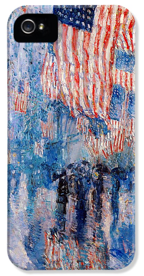 Frederick Childe Hassam IPhone 5 / 5s Case featuring the digital art The Avenue In The Rain by Frederick Childe Hassam